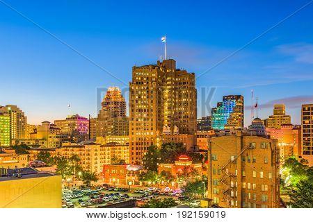 San Antonio, Texas, USA downtown cityscape at twilight.