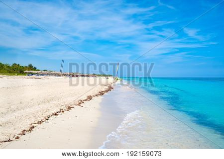 The beautiful Varadero beach in Cuba on a sunny summer day with white sand and turquoise water