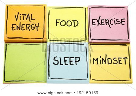 vital energy concept - food, exercise, mindset and sleep handwritten in black ink on colorful sticky notes isolated on white