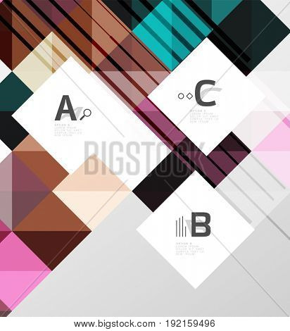 Modern geometrical square banner, minimalistic abstract background with sample letter option infographics