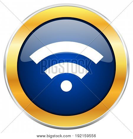 Wireless blue web icon with golden chrome metallic border isolated on white background for web and mobile apps designers.
