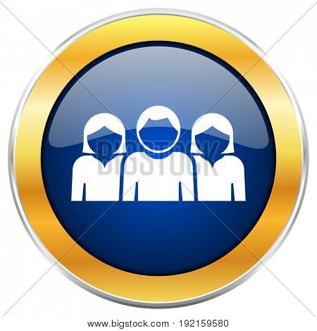 People blue web icon with golden chrome metallic border isolated on white background for web and mobile apps designers.
