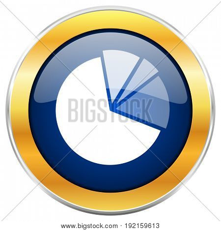 Diagram blue web icon with golden chrome metallic border isolated on white background for web and mobile apps designers.