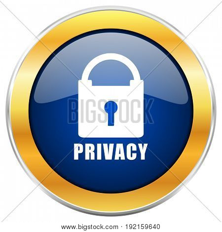 Privacy blue web icon with golden chrome metallic border isolated on white background for web and mobile apps designers.