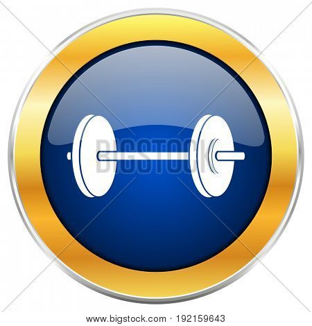 Fitness blue web icon with golden chrome metallic border isolated on white background for web and mobile apps designers.