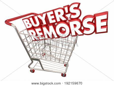 Buyers Remorse Shopping Cart Regret Purchase 3d Illustration