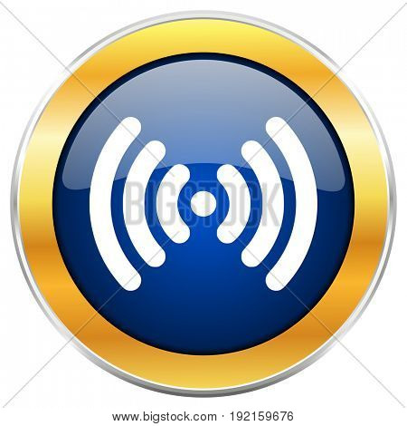 Wifi blue web icon with golden chrome metallic border isolated on white background for web and mobile apps designers.