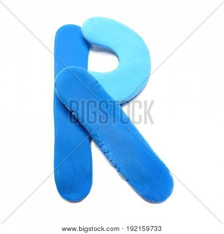 Blue plasticine letter. Blue plasticine alphabet, isolated.