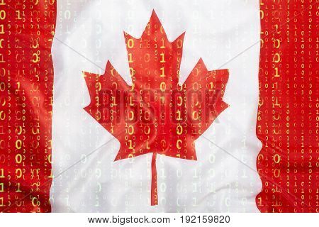 Binary Code With Canada Flag, Data Protection Concept
