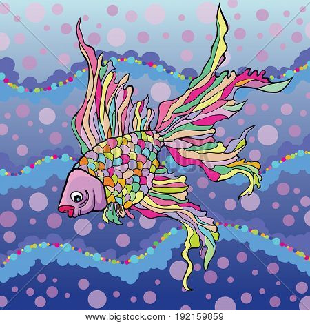 Vector illustration of decorative aquarium fish on the background of water