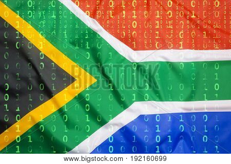 Binary Code With South Africa Flag, Data Protection Concept