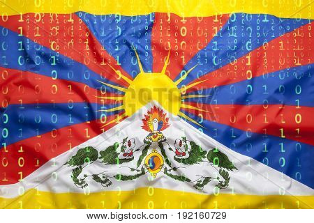 Binary Code With Tibet Flag, Data Protection Concept