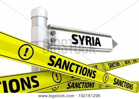 Sanctions against Syria. Street sign with the word