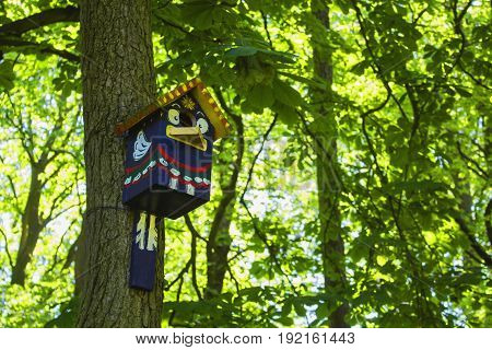 Brightly painted wooden birdhouse hanging on tree with leaves blurred in the background