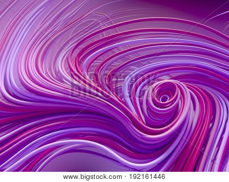 Abstract colored strands blue and pink lines pattern. 3D rendering