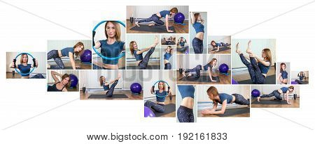 Fitness Collage. Woman exercising collage - yoga, fitness, pilates.
