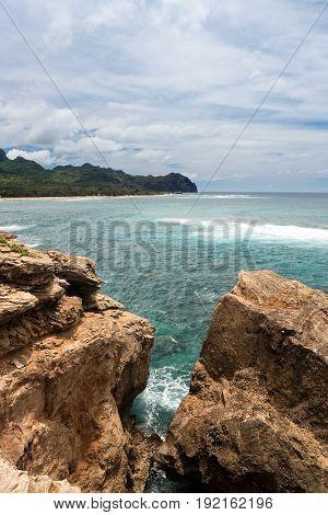 Mahaulepu beach near Poipu on south coast of Kauai in Hawaii