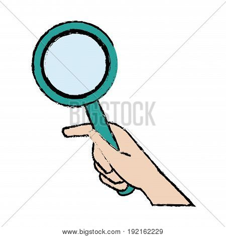 hand holding magnifier handle search vector illustration