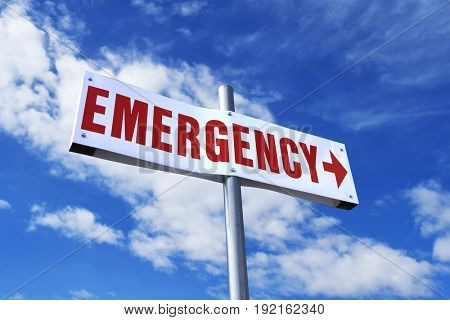 Emergency room sign with arrow pointing right set against a partly cloudy sky