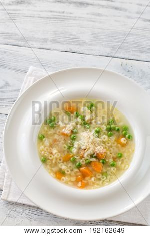 Italian Chicken Pasta Soup With Parmesan
