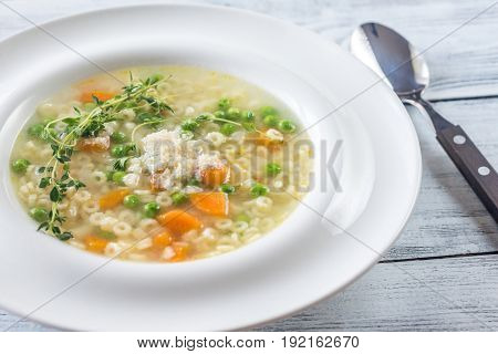 Portion of italian chicken pasta soup with parmesan
