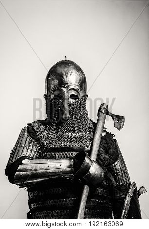Heavy armored medieval russian warrior. Late medieval. Kievan Rus'. 1290-1340 years. Appearance based on burial of sotnik of Grand Prince of Kiev.