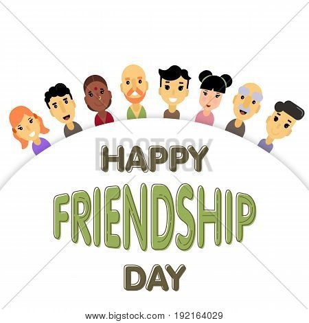 The semicircle of friends of different genders and nationalities as a symbol of International Friendship day. Vector illustration of banner for the International Day of friendship.