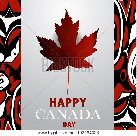 Canada flag with real maple leaf with aboriginal pattern national day of Canada vector background
