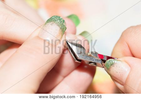 professional manicure in a beauty salon . A photo