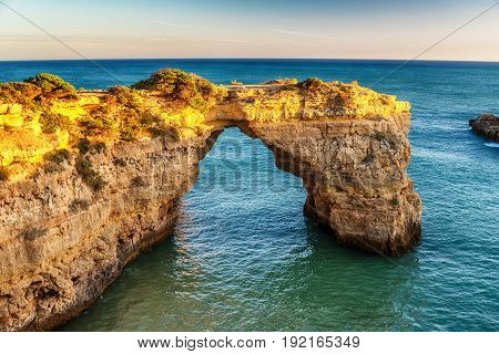 Portugal: beautiful rocks in the coast of Algarve at sunset
