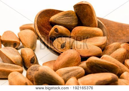 Forest pine nuts and a wooden spoon close-up at a white background