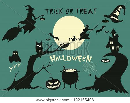 Halloween. Halloween party. Halloween greeting card background. Halloween illustration with Halloween pumpkin, bat,