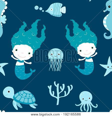 Cute seamless pattern with mermaids and sea animals on blue and white colors for children clothing and paper wrapping