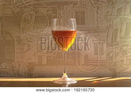 The glass filled with wine, alcoholic beverages, tasting of wine