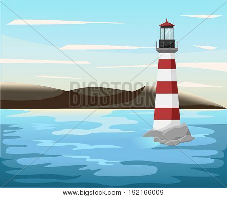 Vector Mountains, Lake Summer Landscape With Flat Sea Beacon On The Horizon. Tourist Cruise On The S