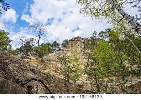 Sandstone mountain from the bottom in thuringia saalfeld