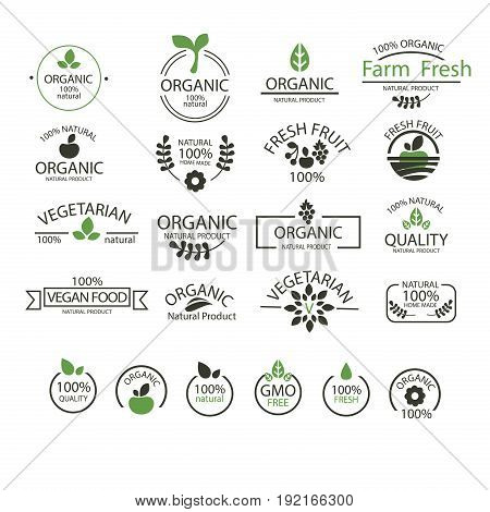 Set of symbols of green world. Design elements for logotype or corporate identity. Concept for environmental, gardening or ecological industry.