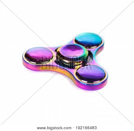 versicoloured colorful fidget spinner stress relieving toy isolated on white background