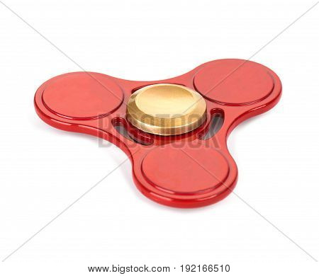 red fidget spinner stress relieving toy isolated on white background