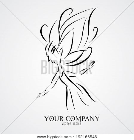 Tree angels outline vector illustration Queen logo design butterfly drawing icon flower wedding cosmectis spa vintage company business