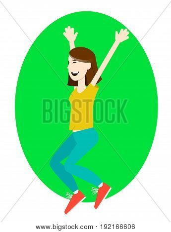 Happy girl jumping up with excitement vector illustration