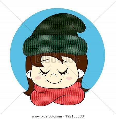 Girl with closed eyes in knitted hat and scarf. Hello winter vector illustration.