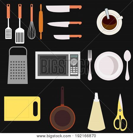 Set of kitchen utensil and collection of cookware icons, cooking tools and kitchenware equipment. Different kitchenware and kitchen utensil tools. kitchen utensil home food cooking