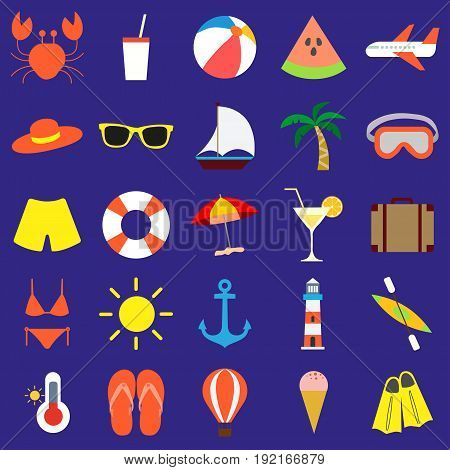 Flat design modern vector illustration icons set for summer vacation