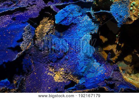 Azurite Mineral Rock Formation blue and purple.
