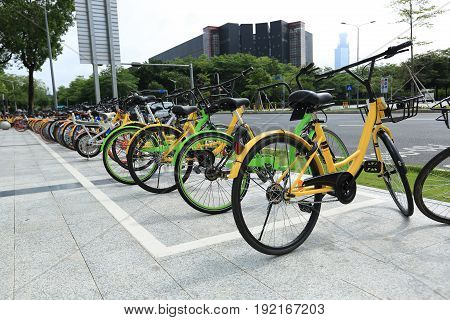 closeup of bike sharing in china city