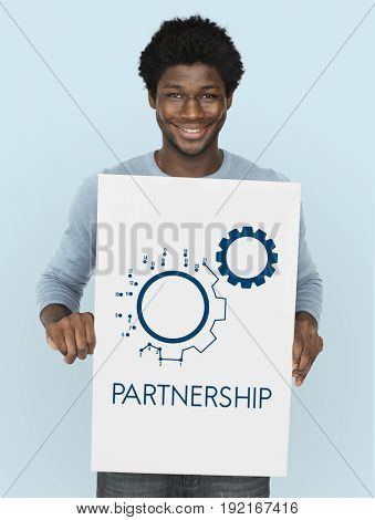 Connection Partnership Leadership Corporation Gear Icon Graphic Word