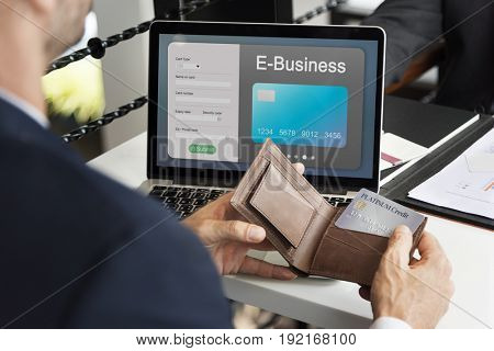 People purchasing goods e-commerce online shopping