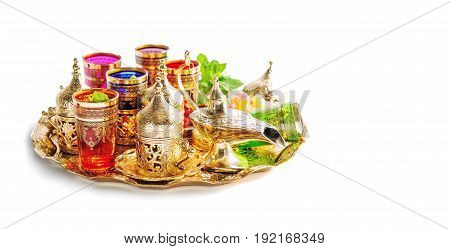 Arabic tea service. Ramadan kareem. Holidays decoration on white background. Vibrant colors