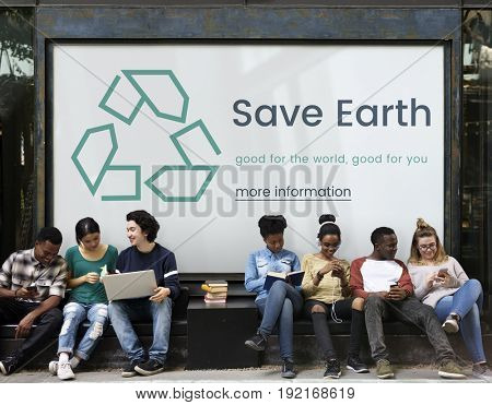 Diverse young people with environmental concept